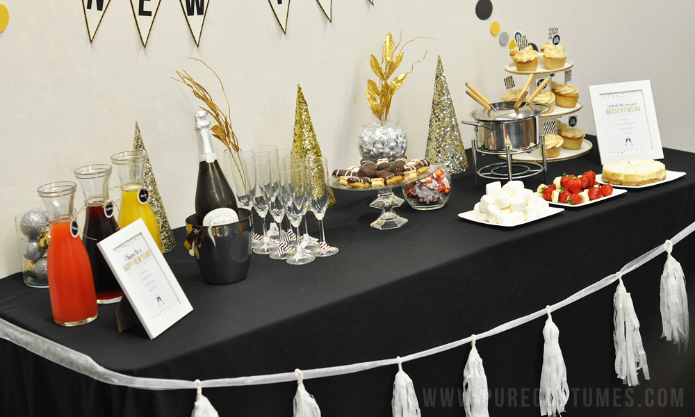 diy new year's eve champagne bubbly bar