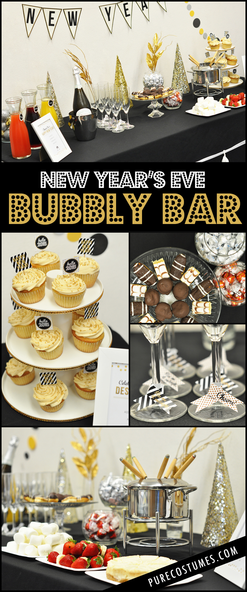 How to Style a diy new year's eve champagne bubbly bar