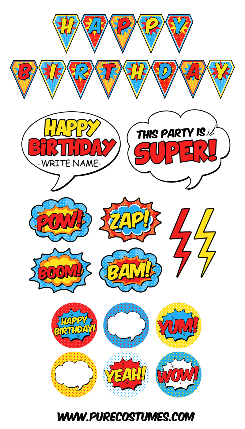 superhero party printables