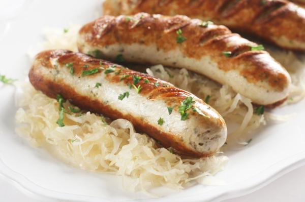 German Food - Bratwurst and Sauerkraut
