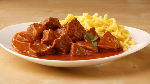 German Food - Gulasch and Spaetzle