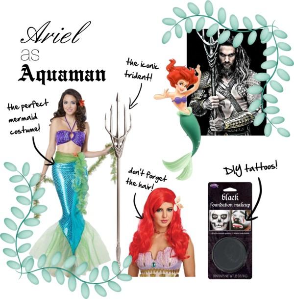 the Little Mermaid Ariel as Aquaman Disney Superhero Mashups