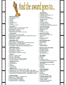 Host Your Own Oscar Viewing Party 2018 Free Printable