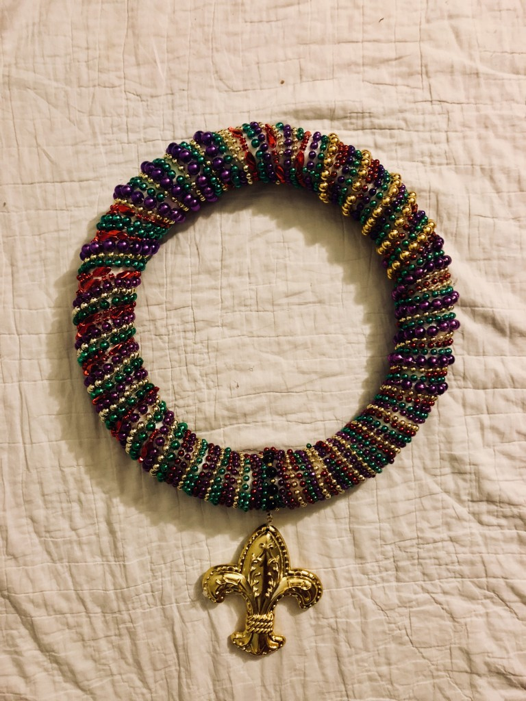 wreath after Mardi gras beads decorations crafts diy