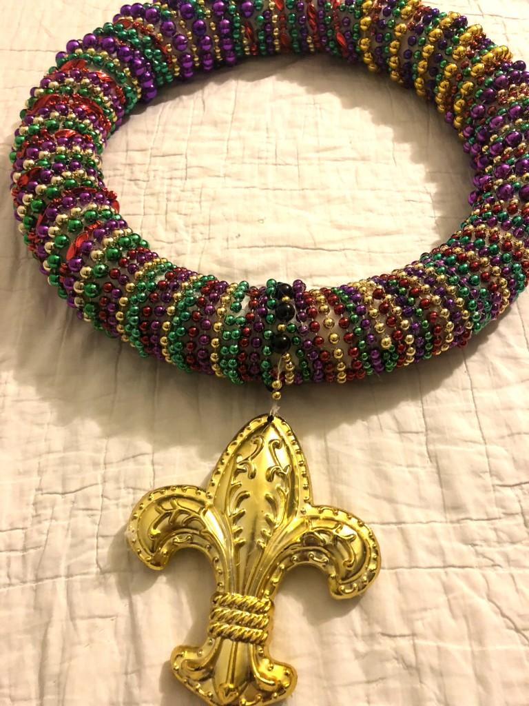 wreath close up Mardi gras beads decorations crafts diy
