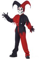 Wicked Evil Jester Child Costume (Red/Black)