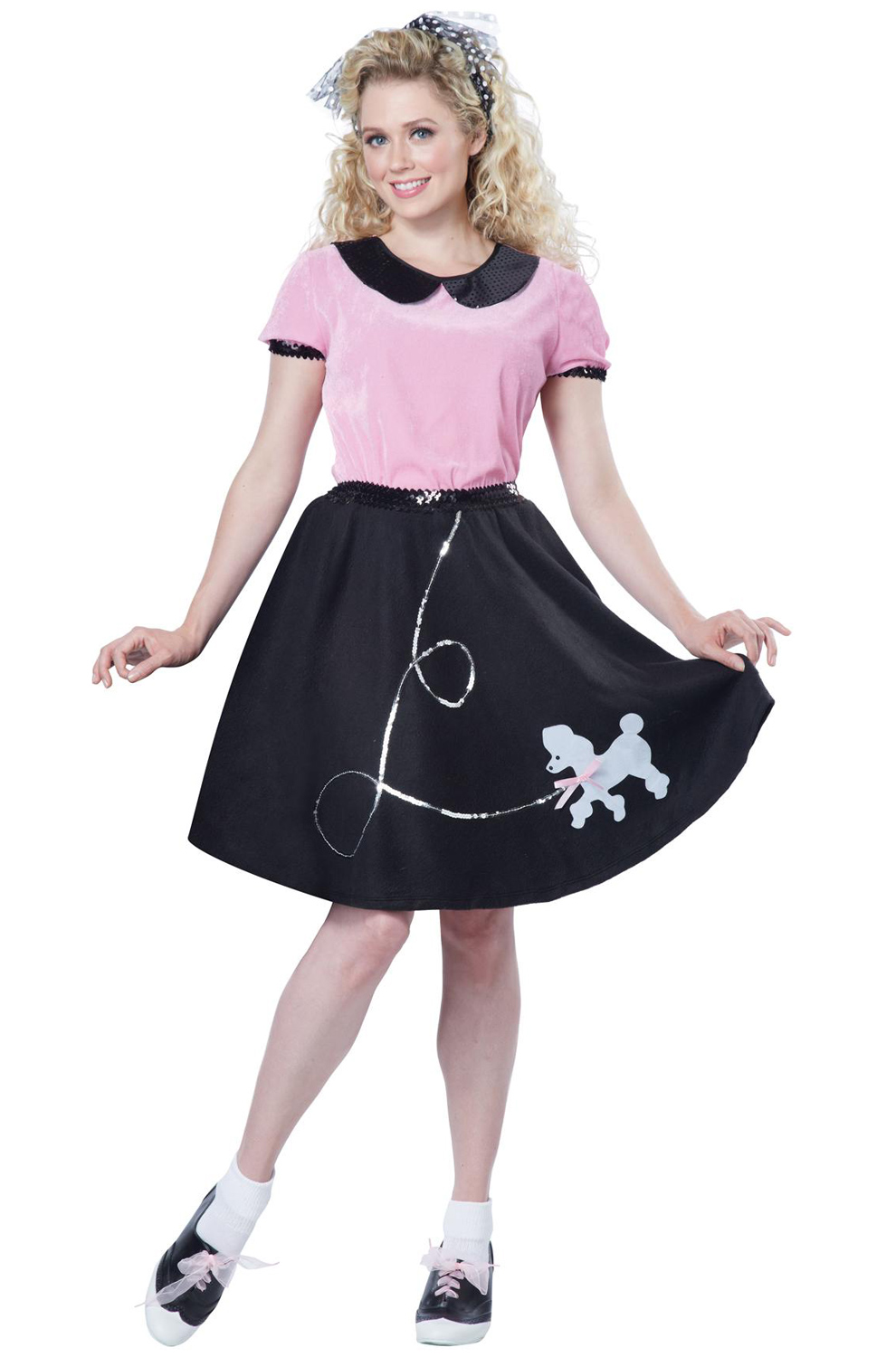 50 Halloween Hair And Makeup Tutorials: Brand New Adult 50's Hop With Poodle Skirt Halloween