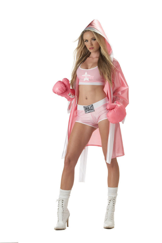 Details about sexy pink everlast boxer chick adult halloween costume