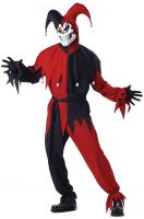 Wicked Evil Jester Adult Costume (Red/Black)