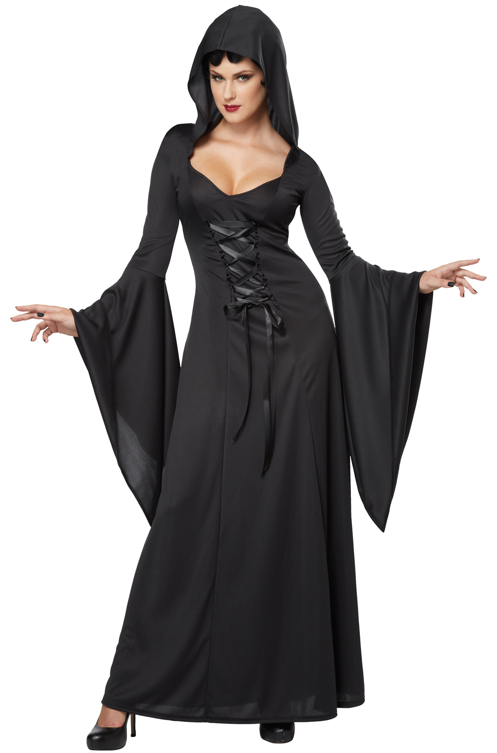 deluxe hooded robe vampire adult costume black. Black Bedroom Furniture Sets. Home Design Ideas
