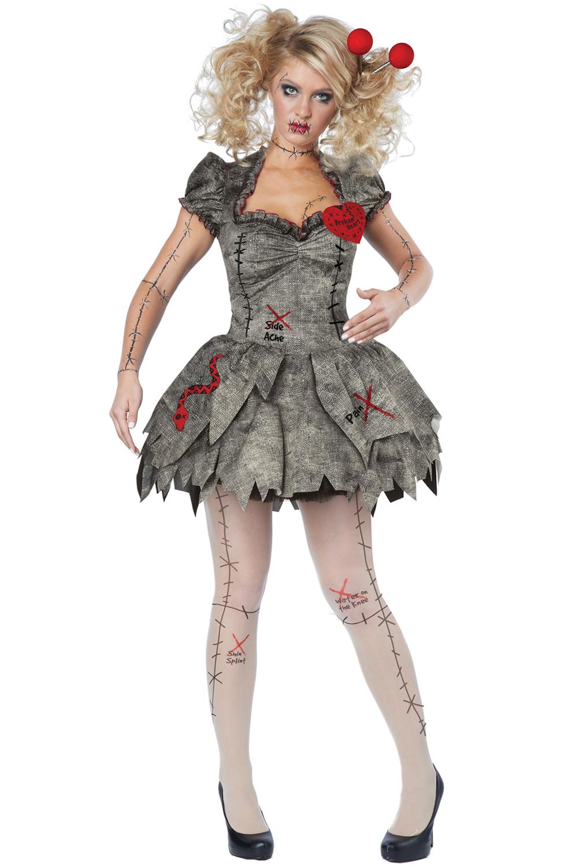 creepy voodoo outfit halloween rag doll costume adult women. Black Bedroom Furniture Sets. Home Design Ideas