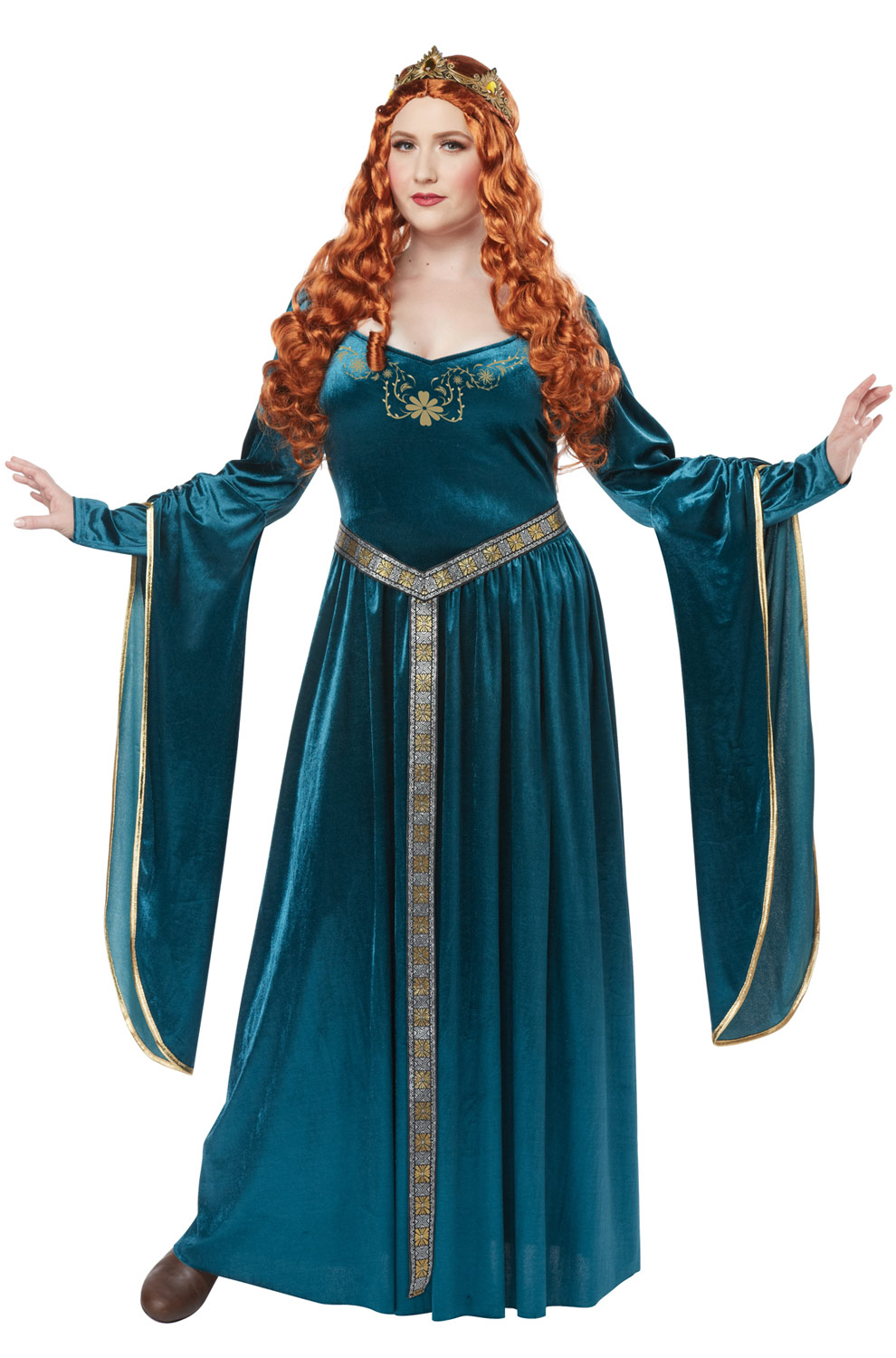 lady guinevere plus size costume (teal) - purecostumes