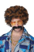Disco Dirt Bag Wig & Moustache (Blonde/Brown)