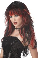 Tempting Tresses Costume Wig - Red/Black