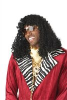 Super Pimp Costume Wig - Black