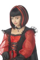 Vampire Girl Costume Wig - Black/Red