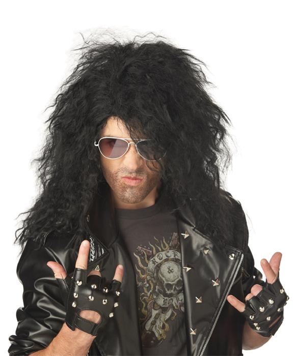Heavy Metal Rocker Costume Wig - Black - PureCostumes.com