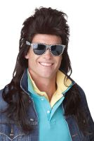 80's Rock Mullet Costume Wig (Brown)