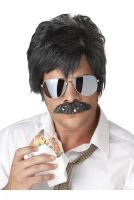 Ace Detective Costume Wig and Moustache (Black/Silver)