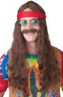 Hippie Man Costume Wig & Moustache (Brown)