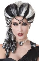 Victorian with Side Curls Costume Wig (Black/White)
