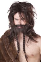 Viking Costume Wig and Beard (Brown)