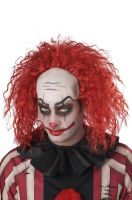 Clown Pattern Baldness Bald Cap Adult Wig (Red)