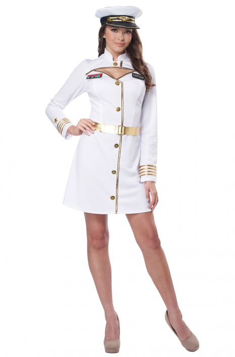 Ladies White Navy Captain//Officer//Sailor Fancy Dress Costume