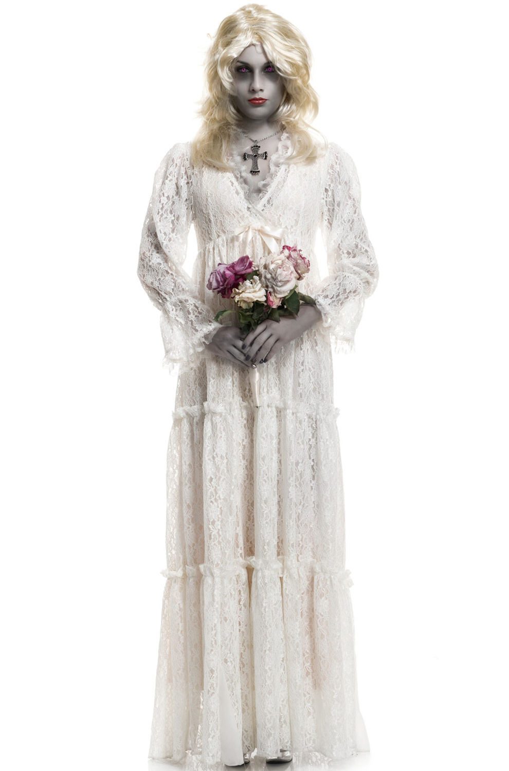 Lost soul ghost wedding gown adult costume ebay for Wedding dress costume for adults