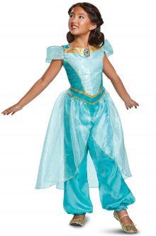 2018 Jasmine Deluxe Child Costume  sc 1 st  Pure Costumes & Aladdin Movie Costumes - Princess Jasmine Costumes - PureCostumes.com