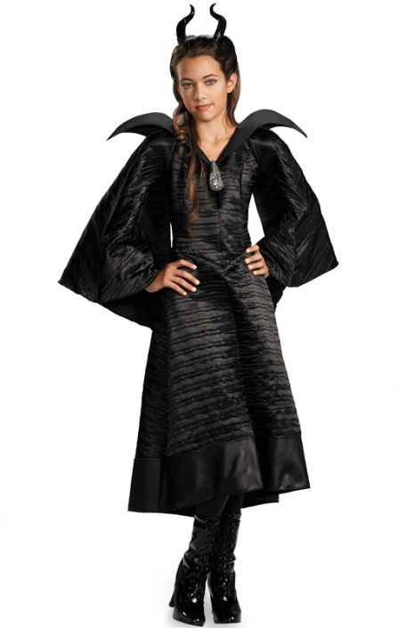 maleficent black gown deluxe child costume