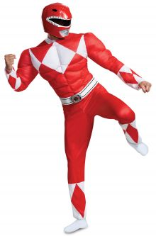 COVID-19-Appropriate costumes Red Ranger Classic Muscle Adult Costume