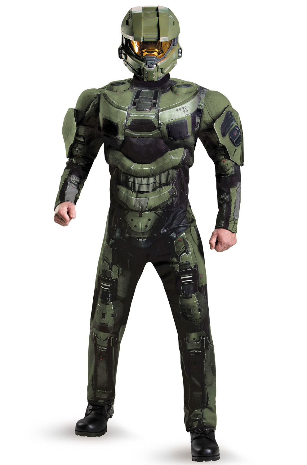 halo master chief deluxe muscle men full helmet adult costume ebay. Black Bedroom Furniture Sets. Home Design Ideas