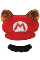 Mario Raccoon Adult Hat and Moustache