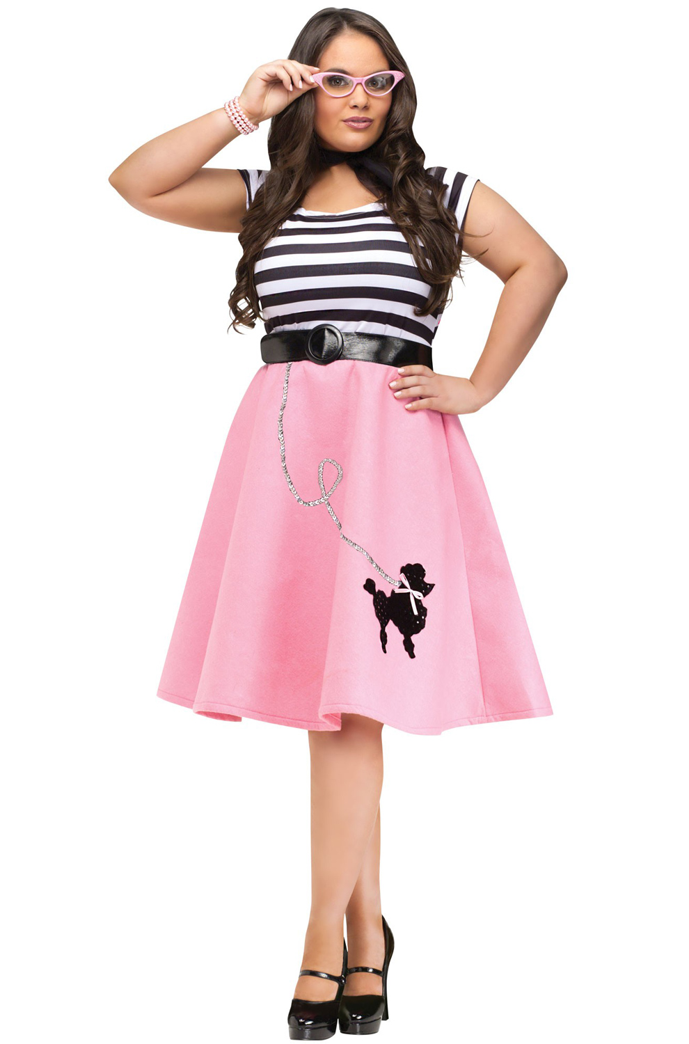 50 Halloween Hair And Makeup Tutorials: Grease Poodle 50's Dress Plus Size Halloween Costume