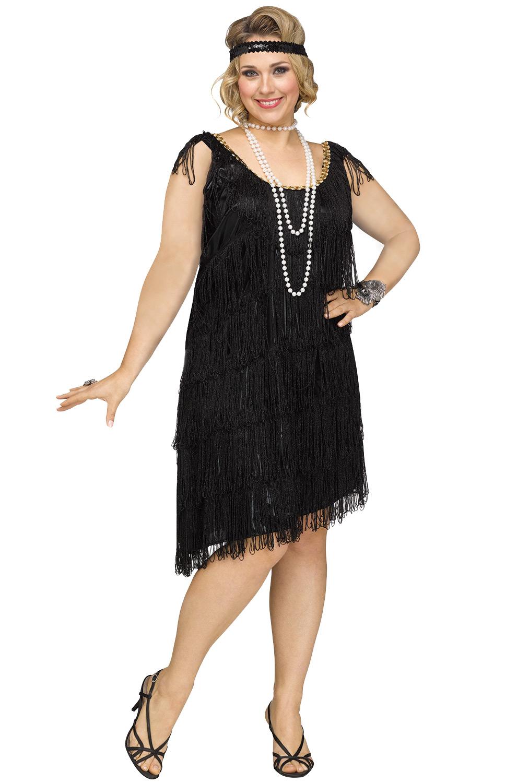 Shimmery Flapper Plus Size Costume (Black) - PureCostumes.com