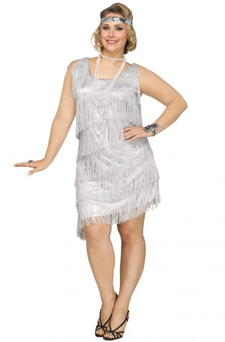 Shimmery Flapper Plus Size Costume (Silver) - PureCostumes.com