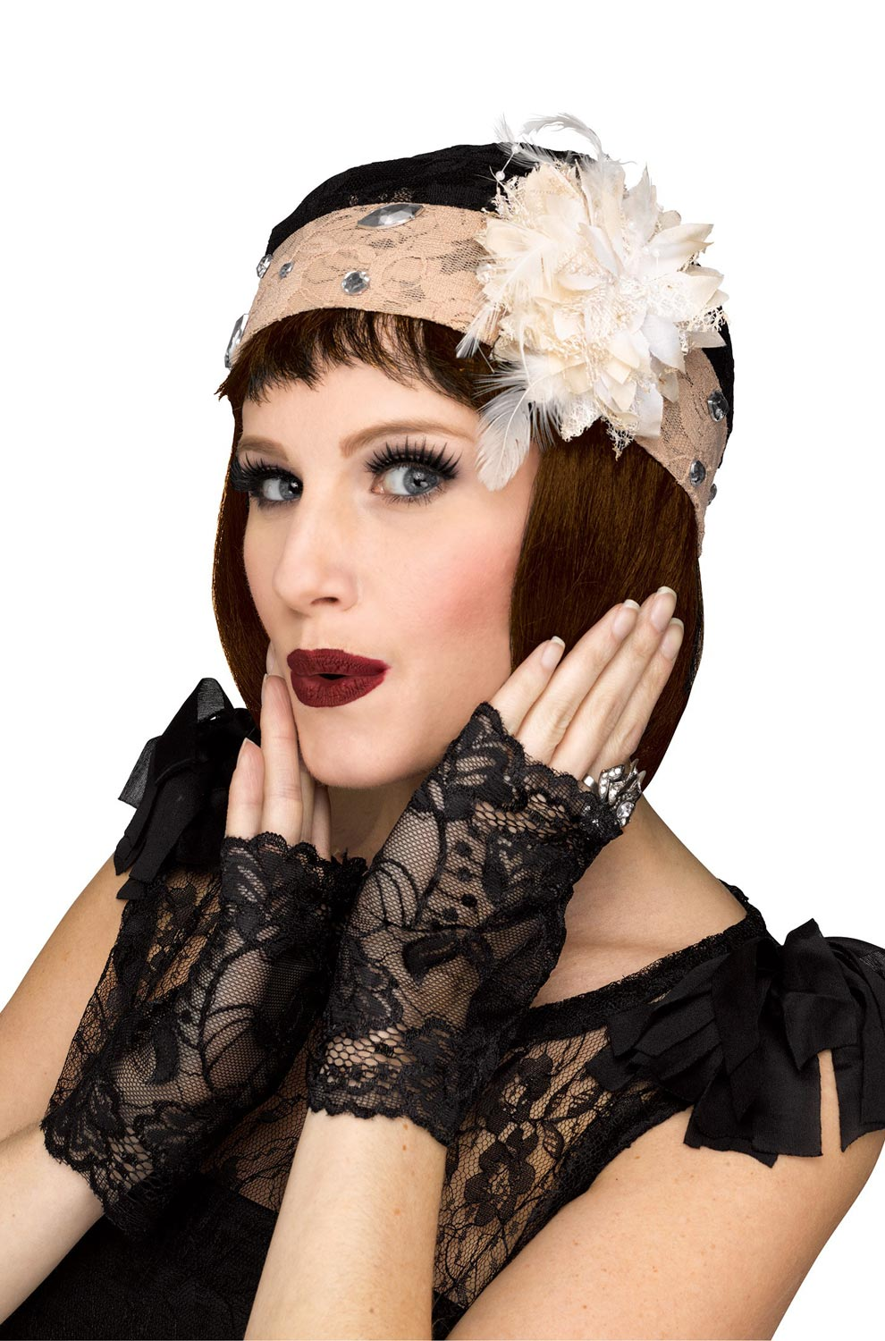 WIDE FLAPPER HEADBAND Feather Sequin Costume Gatsby