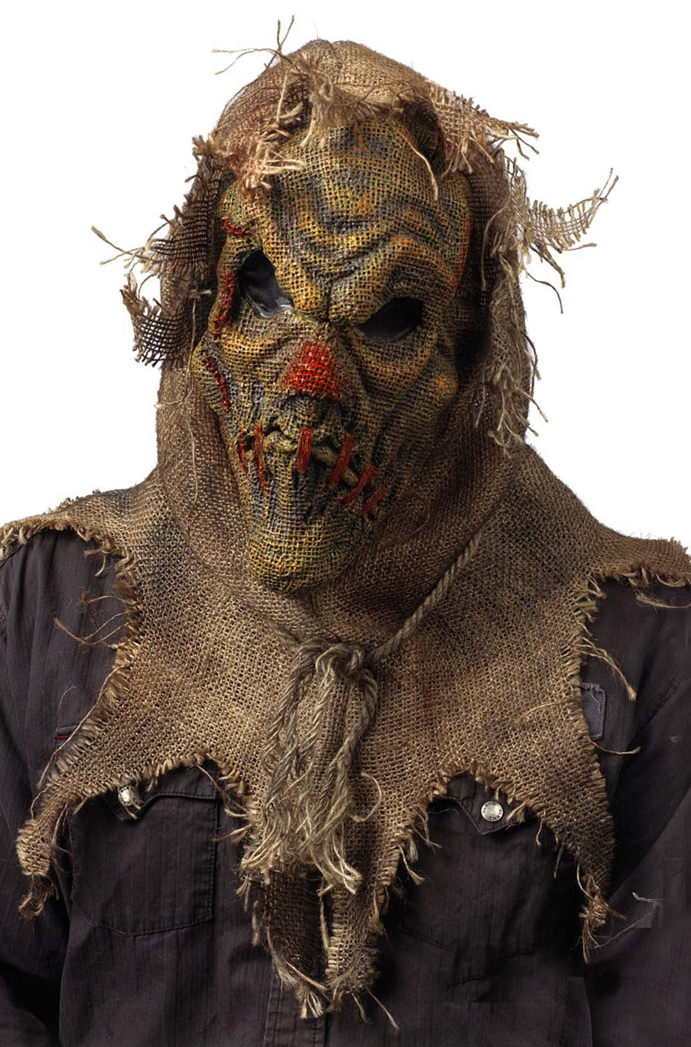 Scarecrow Gunny Sack Red Mask Adult Halloween Accessory | eBay