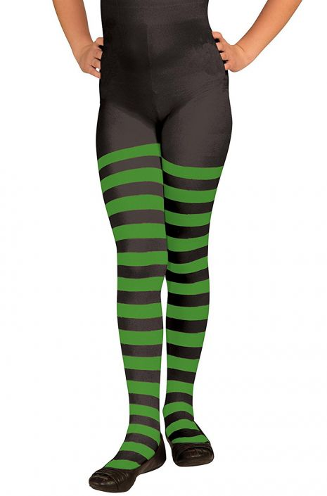 87b68bf08d7ed Child Striped Tights (Green/Black) - PureCostumes.com