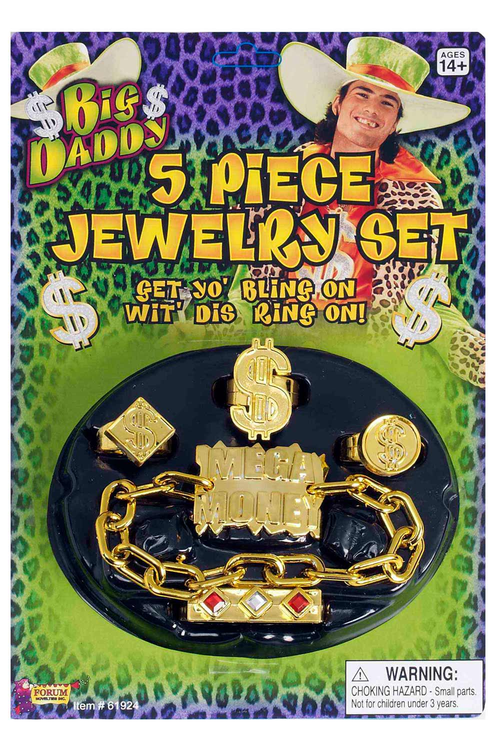 4 PIECE HIP HOP OLD SCHOOL BLING RINGS SET ACCESSORY
