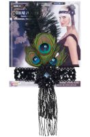 Peacock Flapper Headband (Black)