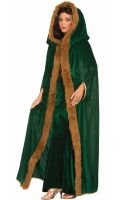 Women's Faux Fur Trimmed Cape (Green)