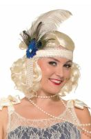 Peacock Flapper Headband (Beige)