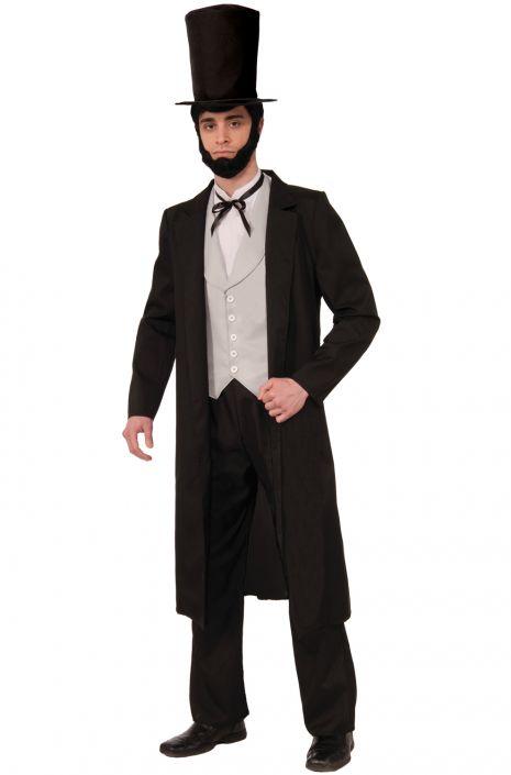 Victorian Men's Costumes: Mad Hatter, Rhet Butler, Willy Wonka Deluxe Lincoln Adult Costume (STD) $69.95 AT vintagedancer.com