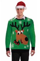Green Reindeer Sweater Adult Costume (Medium)