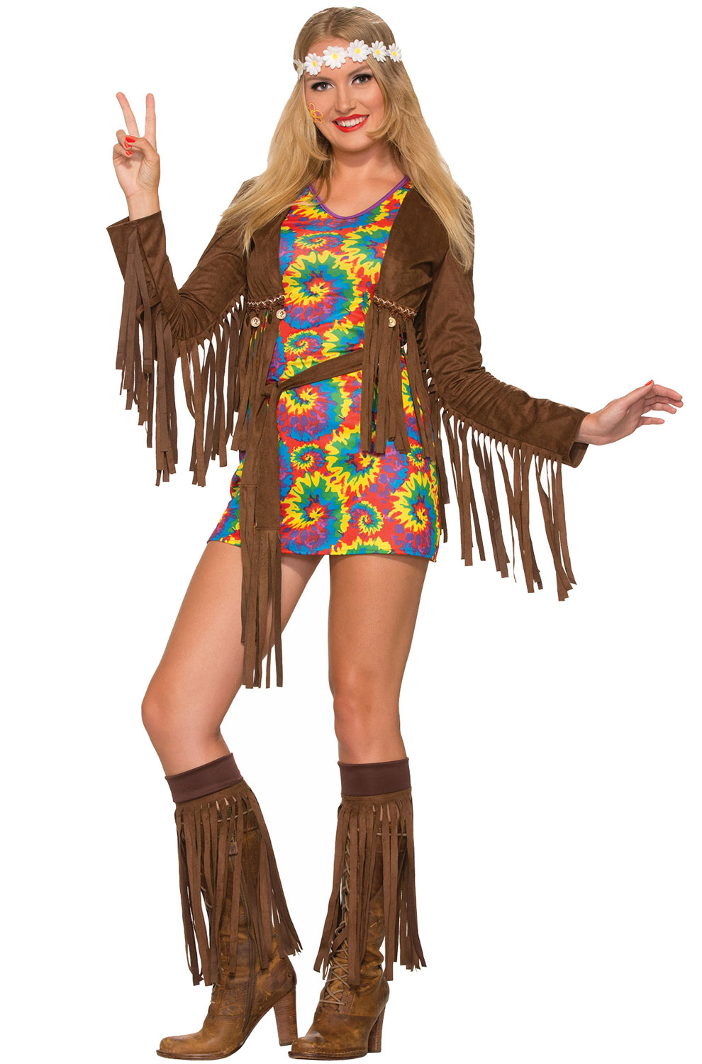 Peace Lover Hippy Costume, Fringe Hippie Costume, Suede Hippy Costume