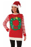 Wreath Light Up Sweater Adult Costume (Large)