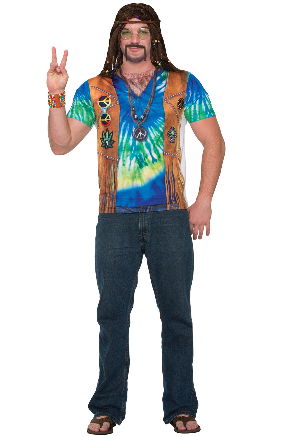 Hippie Man Shirt Adult Costume Large Purecostumes Com
