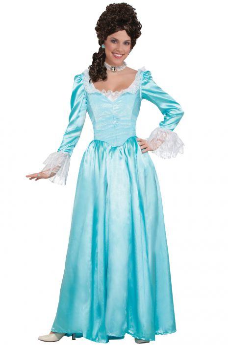 Blue Colonial Lady Adult Costume (Medium) - PureCostumes.com